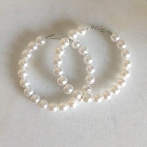 "Extra large 3"" faux pearl hoops"